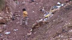 poor children in slums in Peru - stock footage