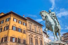 Equestrian statue of Cosimo de Medici in Florence Stock Photos