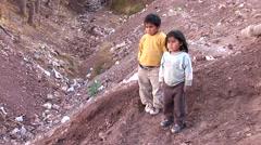 Poor children in slums in Peru Stock Footage
