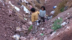 Poor children in slums in Peru Stock Footage