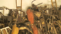 Collection of  artificial legs and arms at Auschwitz Stock Footage
