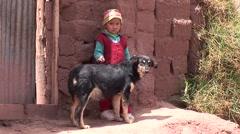 poor children on a waste dump - stock footage