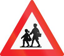 Watch Out For Children in Austria Stock Illustration
