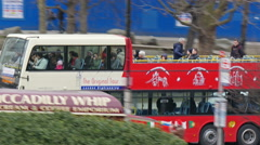 The fast moving London red bus Stock Footage