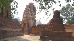 Wide Shot of the Wat Mahathat at the Ayutthaya Historical Park in Thailand - stock footage