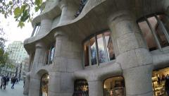 The famous Casa Mila (La Pedrera) in Barcelona, Spain. Stock Footage