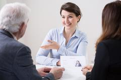 Human resources team during job interview Stock Photos
