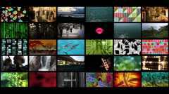 Wall of multiple TV channel Stock Footage