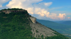Movement of the clouds on the mountain. Cave city Tepe-Kerman, Crimea, Russia,  Stock Footage