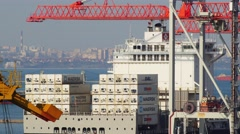 Huge container ship docked in port with bulker ship passing on a background Stock Footage