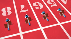 Track and Field Starting Blocks Stock Footage