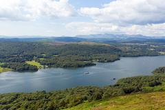 Lake District mountains and elevated view Windermere uk - stock photo
