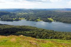 Windermere Lake District England UK elevated view - stock photo