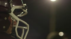 Football Player Profile at Night - stock footage