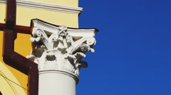 Chapiter of classical style column - stock footage