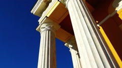Classic theater columns pan Stock Footage