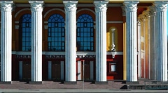 View of the porch of the theater Stock Footage