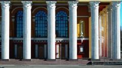 Panning of theater's fronton - stock footage