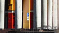 Theater's fronton columns tilt - stock footage