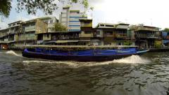 Stock Video Footage of Public transport boat in old town Bangkok.