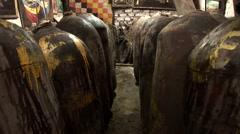 Pisco Barrils in distillery in Ica, Peru Stock Footage