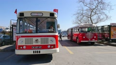 Levent labeled nostalgic buses were manufactured specially for Turkey - stock footage