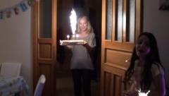 Serving a cake with sparklers Stock Footage