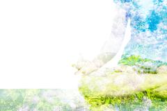 Stock Illustration of Double exposure image of  woman doing yoga asana