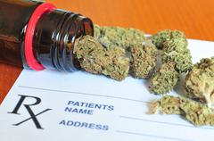 Marijuana buds with prescription paper Stock Photos