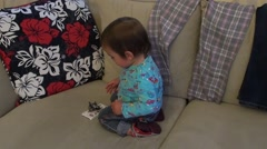 Toddle angry on phone Stock Footage