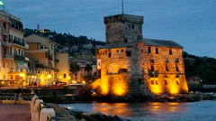 Rapallo in Italy, the castle by night Stock Footage