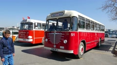 Nostalgic IETT busses of Istanbul Stock Footage