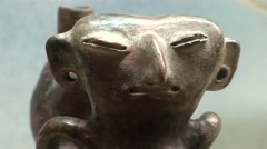 Old Cermaic Object, Prehistoric Exhibition, Peru, South America Stock Footage