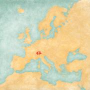 Map of Europe - Switzerland (Vintage Series) Stock Illustration
