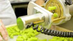 Production of pasta - machine produce pasta Stock Footage