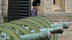 Three green artillery cannon display in the Tower of London Stock Footage