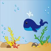 Underwater world (whales) - stock illustration