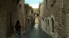 Old Town of Walled Medieval City Stock Footage