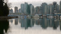 Vancouver BC skyline from Coal Harbour. Stock Footage