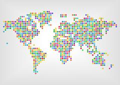 Map with dots in different colors. Concept of diversity around the world Stock Illustration