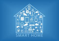 Smart home automation as vector illustration - stock illustration