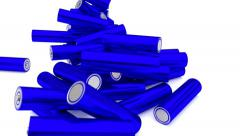 Animated falling plain (stripped from label) blue AA batteries 1080p Stock Footage