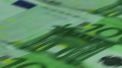 dolly shot of 100 euro bills - stock footage