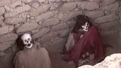 Chauchilla graveyard with mummys, Nasca, Peru Stock Footage