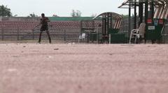 Boxer training in sun/heat, Nigeria Stock Footage