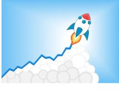 Positive increasing growth chart with launching cartoon rocket as infographic Piirros
