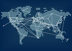 Global network connectivity represented by dark blue world map - stock illustration