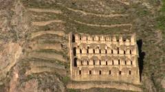 Ollantaytambo Fortress of the Inca in Peru Stock Footage