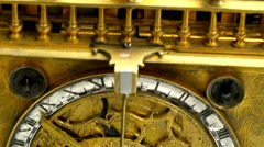 A golden clock from the displays in a musuem Stock Footage