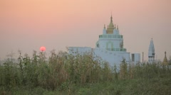 View of 13th century temple at sunset Stock Footage